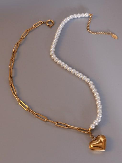MAKA Titanium Steel Imitation Pearl Heart Vintage Necklace 2