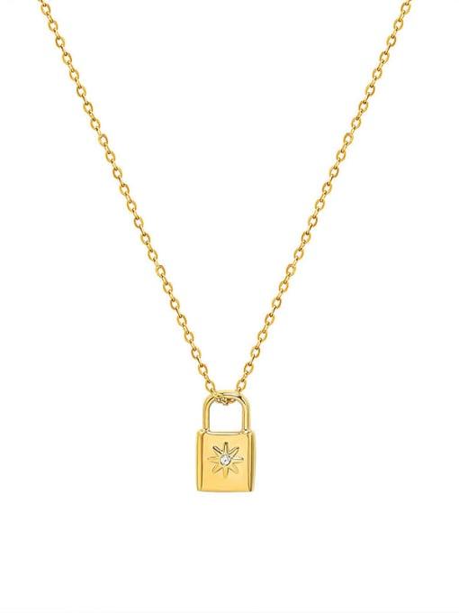 MAKA Titanium Steel Rhinestone Locket Minimalist Necklace