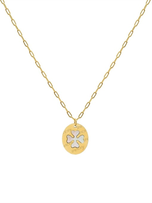 MAKA Titanium Steel Shell Clover Minimalist Necklace 0