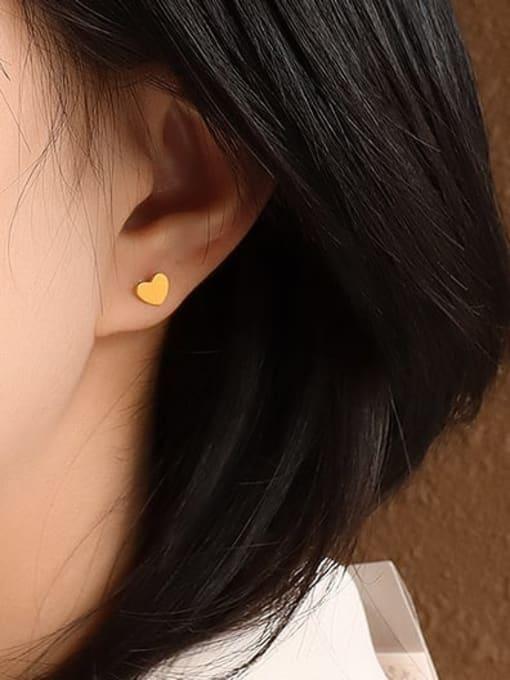 MAKA Titanium Steel Smooth Heart Minimalist Stud Earring 1