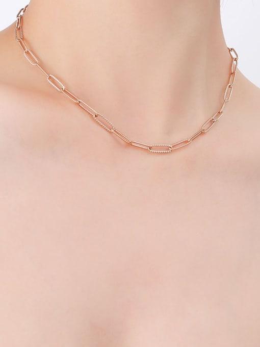 P494 texture rose gold necklace 39cm Titanium Steel Geometric Minimalist Necklace