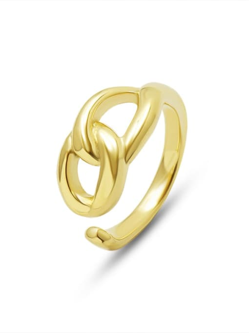 Gold Titanium Steel  Hollow Geometric Minimalist Band Ring