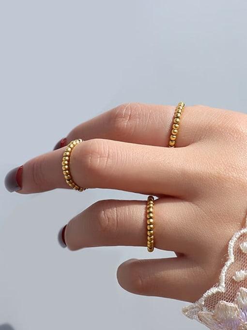 MAKA Titanium Steel Bead Geometric Statement Band Ring 1