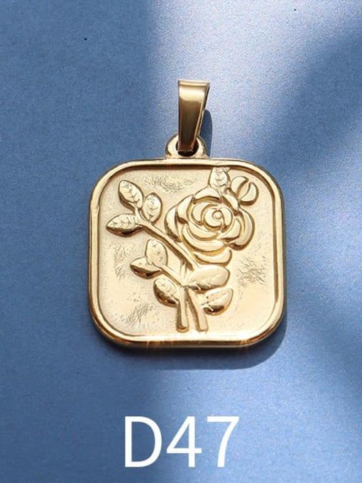 D47 gold Stainless steel Geometric  Vintage Pendant