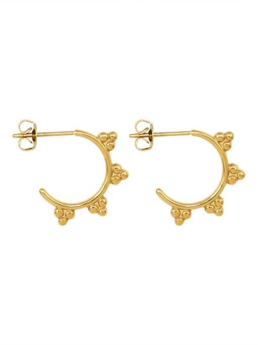 MAKA Titanium Steel Bead Triangle Minimalist Stud Earring 0