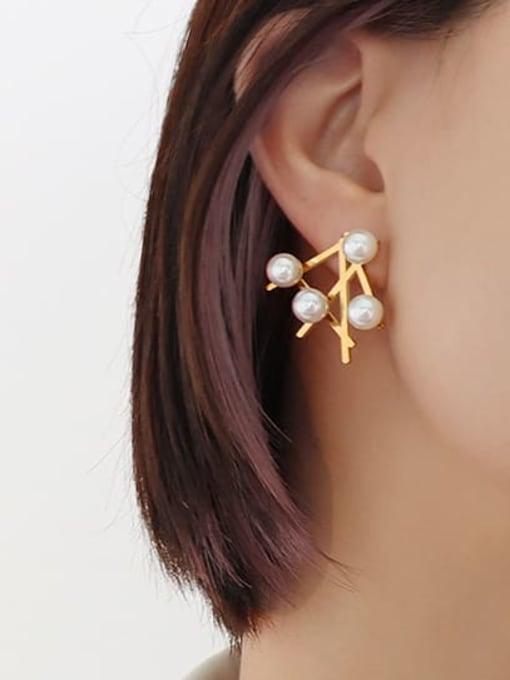 MAKA Titanium Steel Imitation Pearl Irregular Minimalist Stud Earring 1
