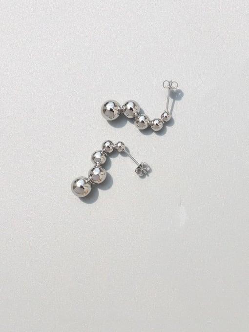 MAKA Titanium Steel Bead Tassel Minimalist Drop Earring 0