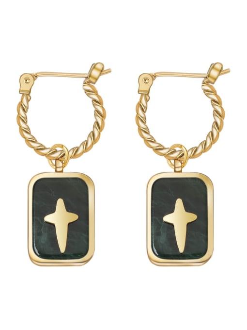 YAYACH Geometric Retro Black oil drop smooth cross titanium steel earrings