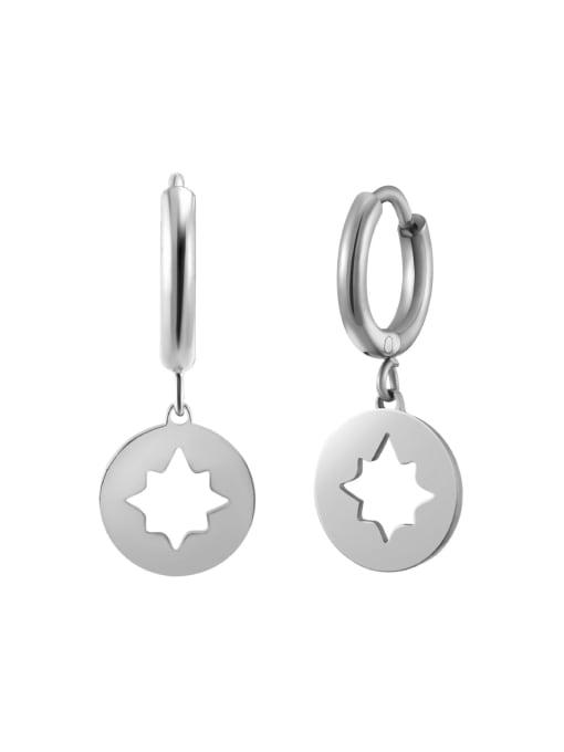 Silver Hollow plated 14K Gold hexapod titanium steel earrings
