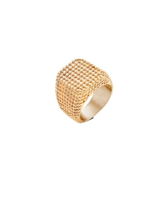 Rose Gold Square Ring Titanium Steel Geometric Artisan Band Ring