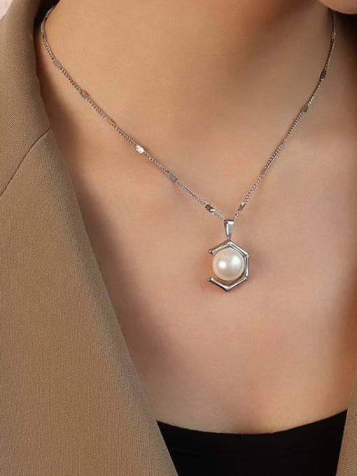 steel  Necklace 40+5cm Stainless steel Imitation Pearl  Vintage Geometric Earring and Necklace Set
