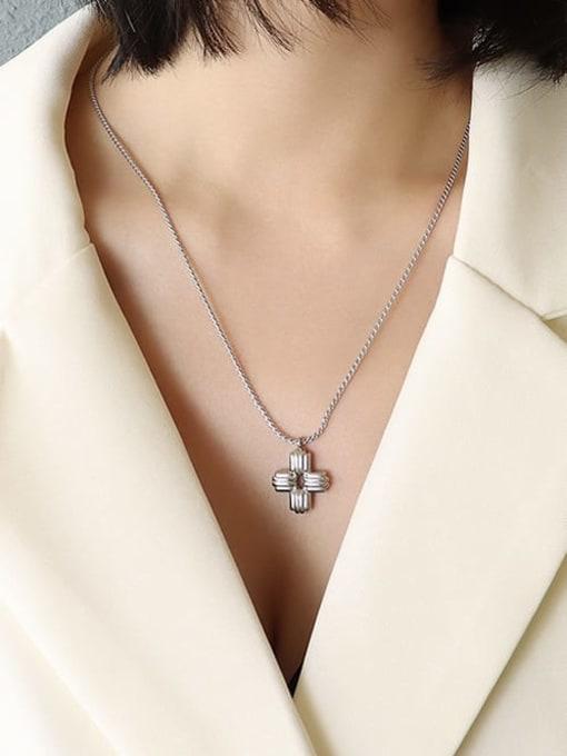 MAKA Titanium Steel Cross Vintage Regligious Necklace 1