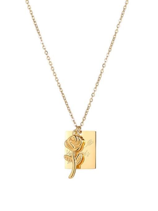 MAKA Titanium Steel Flower Minimalist Geometric  Pendant Necklace