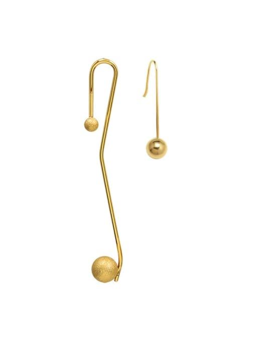 gold Titanium Steel Tassel Minimalist Hook Earring