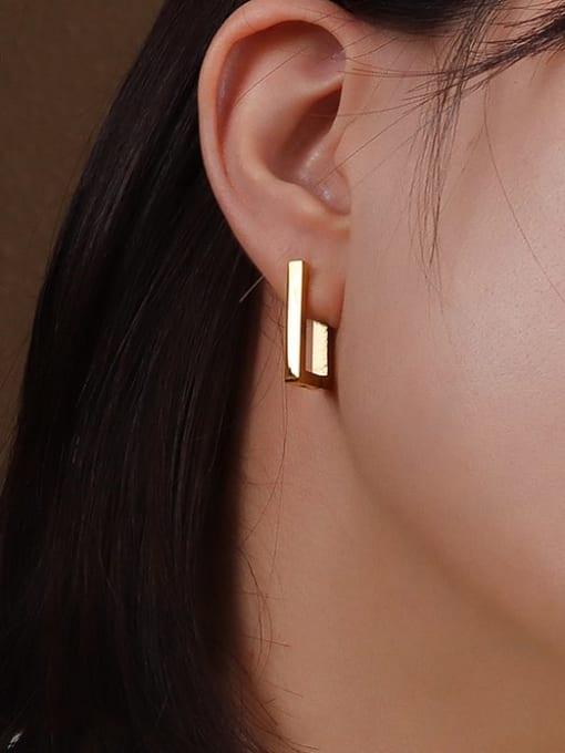 MAKA Titanium 316L Stainless Steel Geometric Minimalist Huggie Earring with e-coated waterproof 2