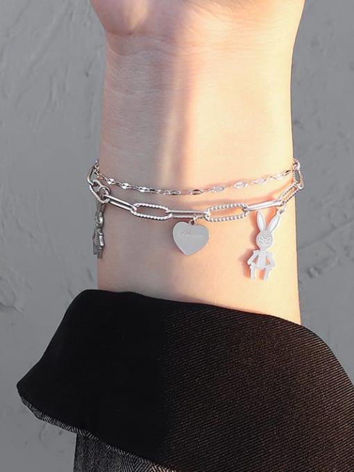 MAKA Titanium Steel Heart Vintage Strand Bracelet 3