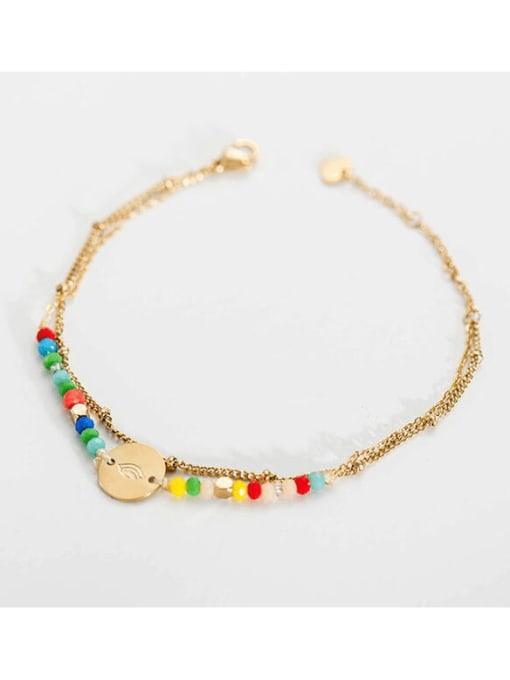 Multicolor Stainless steel Bead Round Bohemia Link Bracelet