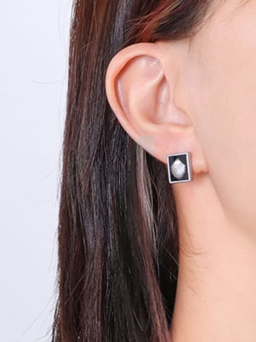 F531 Steel Earrings Titanium Steel Enamel Minimalist Square Earring and Necklace Set
