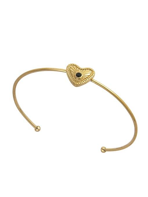 gold Stainless steel Rhinestone Heart Trend Cuff Bangle