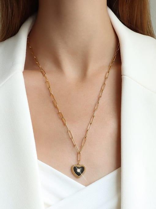 MAKA Titanium Steel Enamel Heart Minimalist Necklace 1