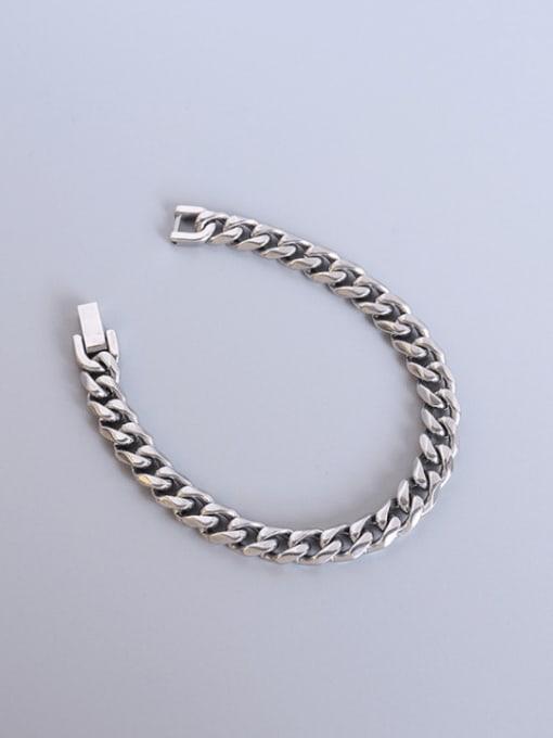 MAKA Titanium Steel Geometric Chain Vintage Link Bracelet 0