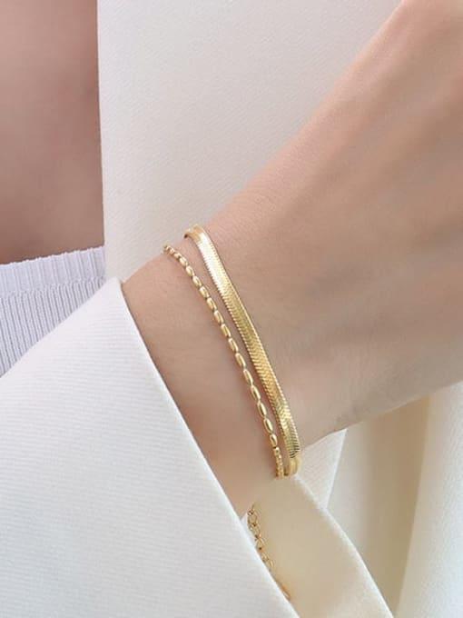 E105 gold 15 +5cm Titanium Steel Geometric Minimalist Strand Bracelet