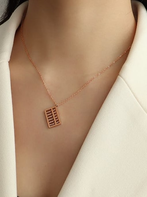 Rose Gold bevel abacus Necklace 40+5cm Titanium Steel Bead Geometric Vintage Necklace