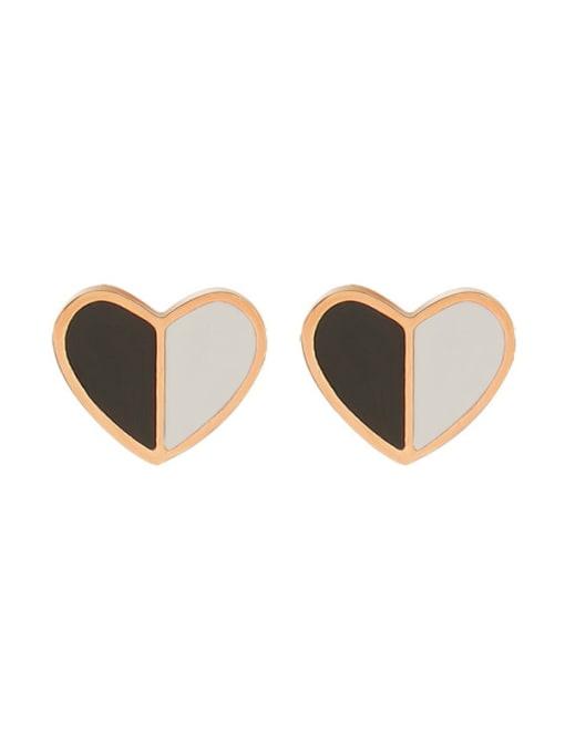 f411 Rose Gold Titanium Steel Shell Heart Minimalist Stud Earring