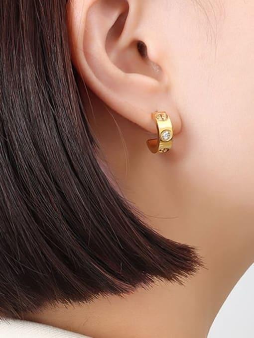 F335 gold cross embossed zircon pair Titanium Steel Rhinestone Geometric Minimalist Stud Earring