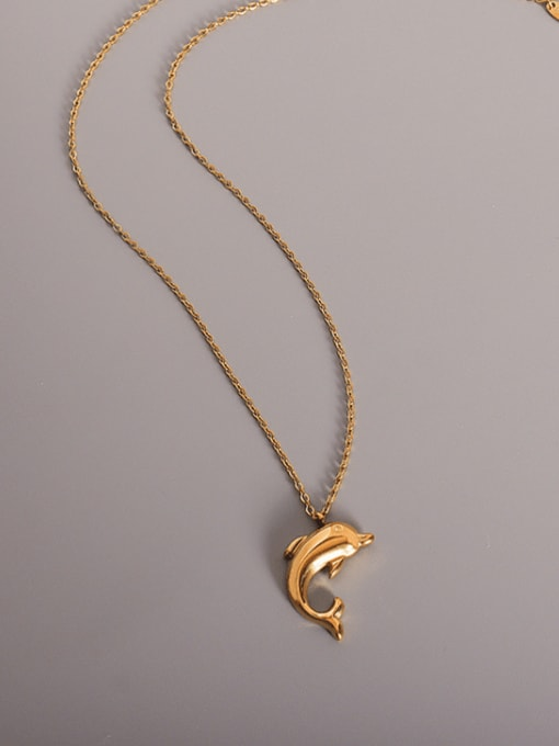 MAKA Titanium 316L Stainless Steel Smooth Dolphin Minimalist  Pendant Necklace with e-coated waterproof 2