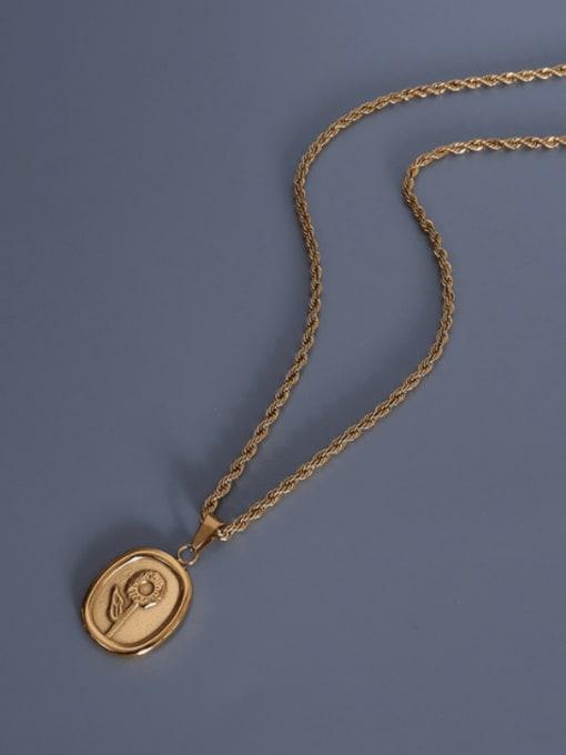 MAKA Titanium Steel Geometric Vintage Flower Pendant Necklace 3