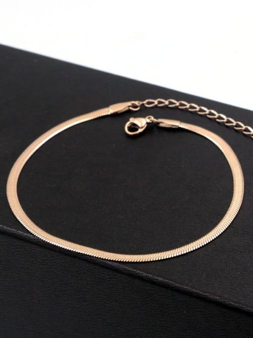 K.Love Titanium Steel Simple flat Snake bone chain Anklet 2