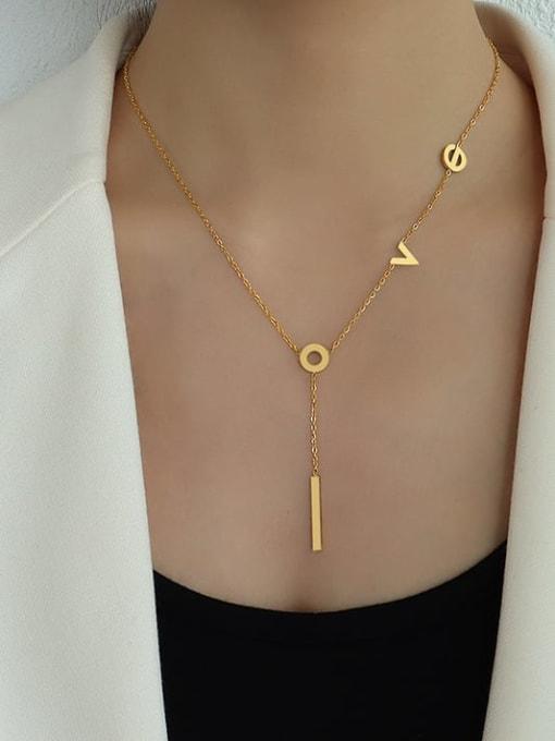 MAKA Titanium Steel Letter Tassel Minimalist Tassel Necklace 1