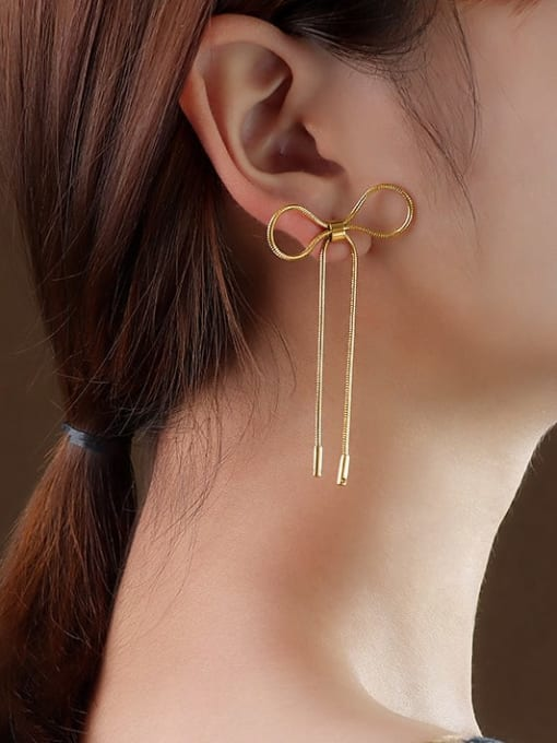 f224 Gold Bow Earrings Titanium 316L Stainless Steel Bowknot Minimalist Threader Earring with e-coated waterproof