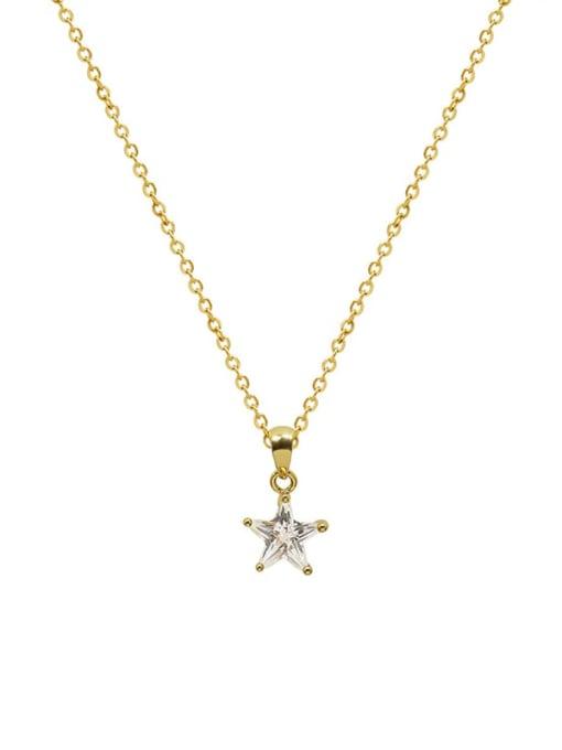 MAKA Titanium Steel Cubic Zirconia Star Minimalist Necklace 0