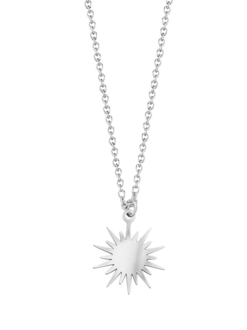 silver Six Pointed Sun Clavicle Titanium Steel Necklace