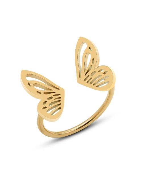 MAKA Titanium Steel Hollow Butterfly Minimalist Band Ring 0