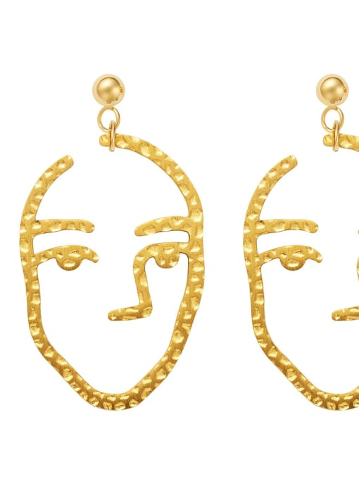 YAYACH Portrait Face Pendant personality new slim stainless steel earrings 1