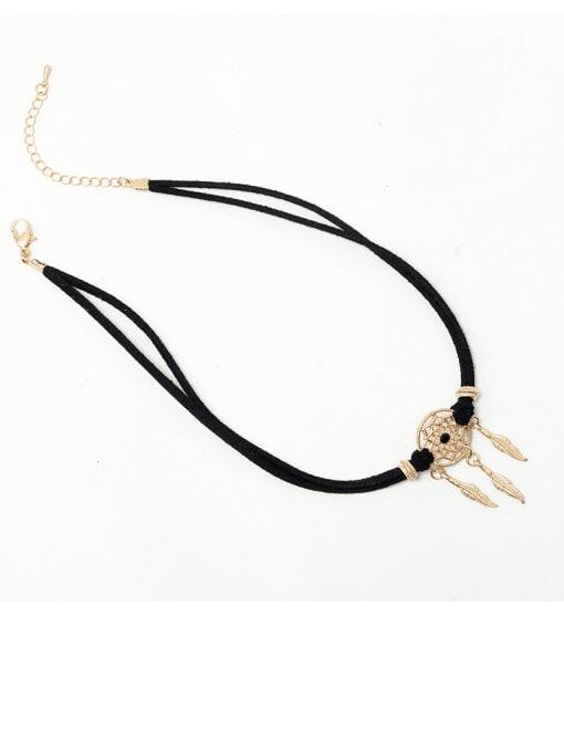 YAYACH Alloy  Vintage  Hollow  Dreamcatcher Leather  necklace. 3
