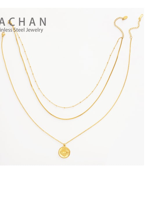 YAYACH French Fine Eye Coin Pendant Multi-layered snake-shaped clavicle chain 2