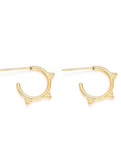 YAYACH Round Earrings C-shaped golden titanium steel earrings 0