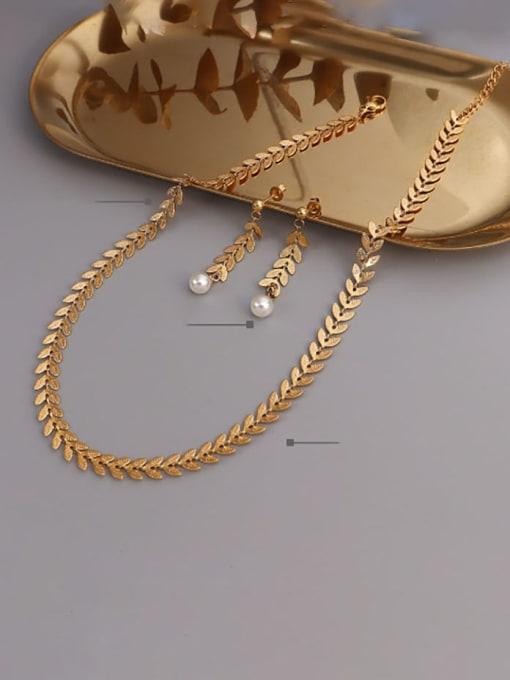 MAKA Titanium Steel Imitation Pearl Vintage Irregular Earring and Necklace Set 1