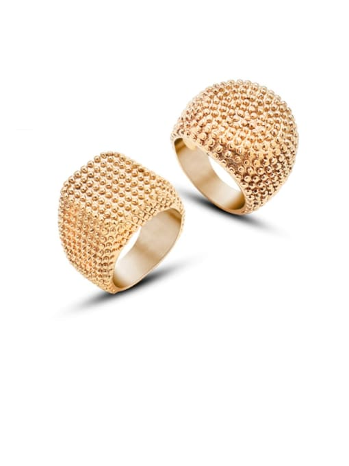 MAKA Titanium Steel Geometric Artisan Band Ring 3