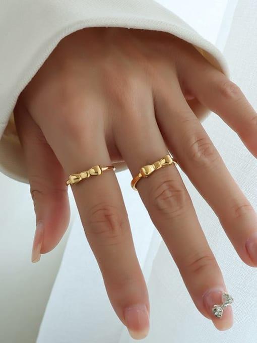 MAKA Titanium Steel Bowknot Minimalist Band Ring 1