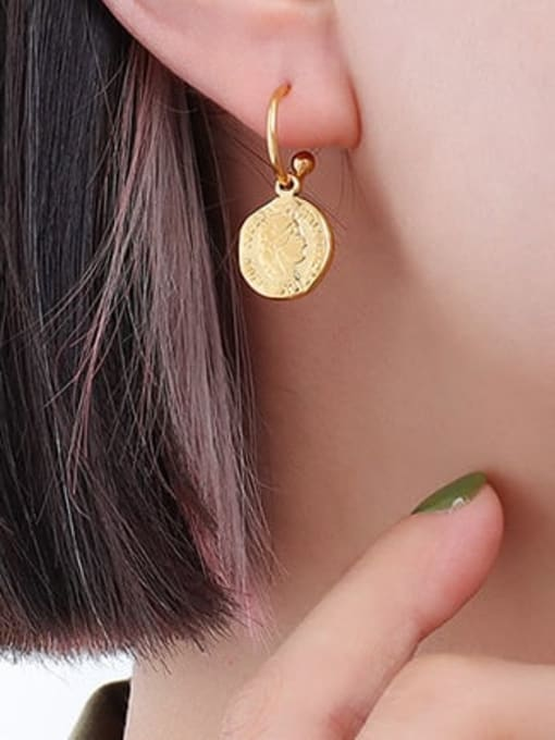 F544 Gold Earrings Titanium Steel Minimalist Geometric Earring and Necklace Set