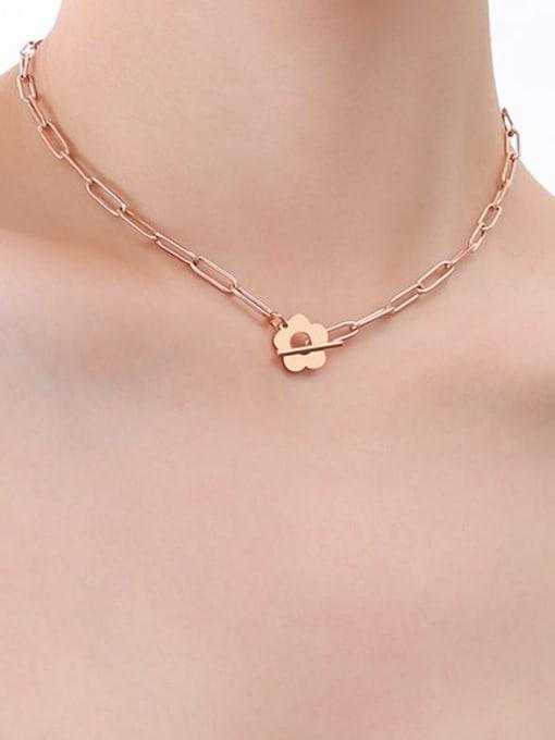 P547 rose necklace 38cm Titanium Steel Geometric Hip Hop Necklace