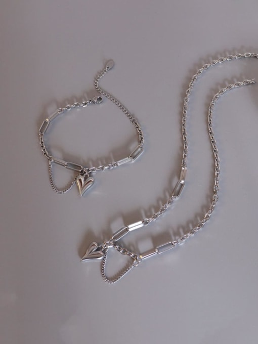 MAKA Titanium Steel Artisan Heart Braclete and Necklace Set 0