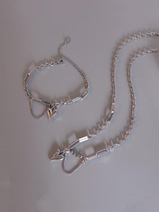MAKA Titanium Steel Artisan Heart Braclete and Necklace Set
