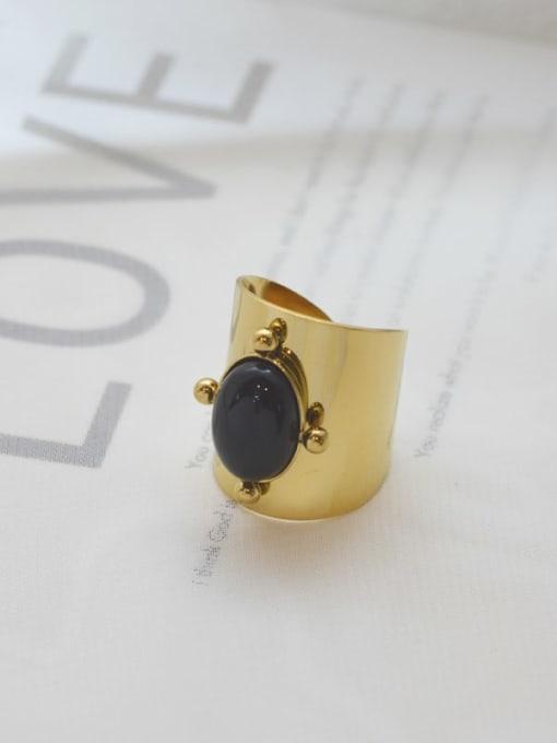 Black Natural stone vintage golden titanium steel ring