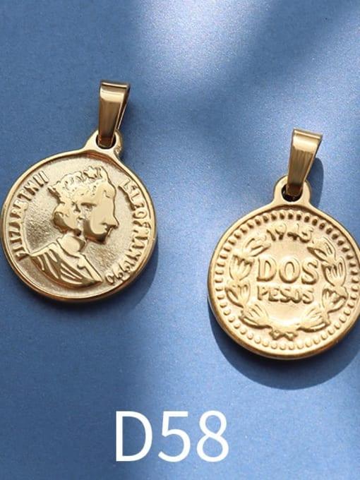 D58 gold Stainless steel Geometric  Vintage Pendant